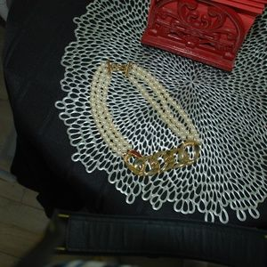 Givenchy Gold Tone with Faux Pearl Choker Necklace